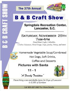 The 37th annual b b craft show lancaster south carolina for Greenfields lancaster craft show